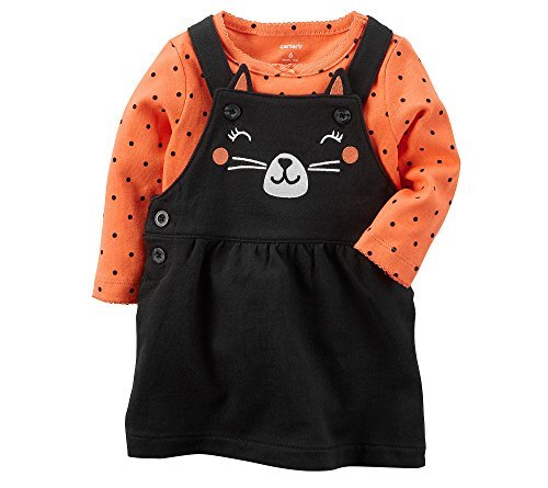 Carter's Baby Girls' 2 Piece Cat Bodysuit And Jumper Set 24 (Halloween Cave Girl)