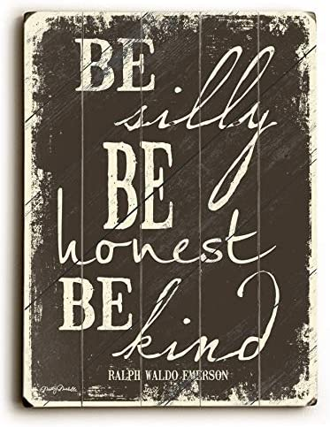 One Bella Casa Be Silly-12×16 Misty Diller 12×16 Planked Wood Wall Decor, One Size, Multi