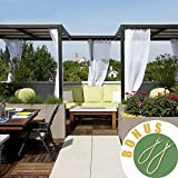 NICETOWN Outdoor Curtains for Pergola - Soft and Thin Fabric Mildew Resistant Sheer Voile Panels with Rope Tie Backs for Cabana & Canopy (2 Panels Per Pack, 54 Inch Wide by 108 Inch Long, White)