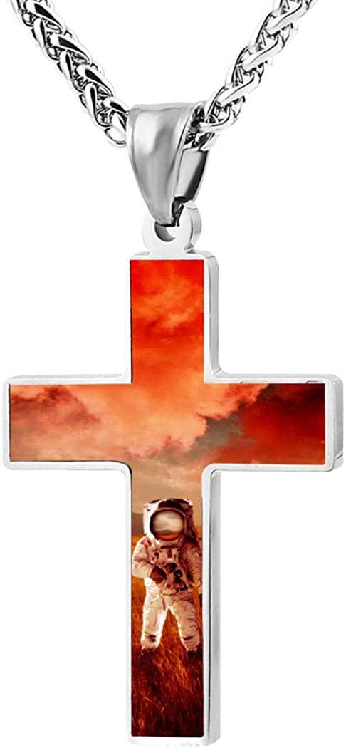 Red World 3D Print Cross Necklace Zinc Alloy Pendant Religious Jewelry Pendant