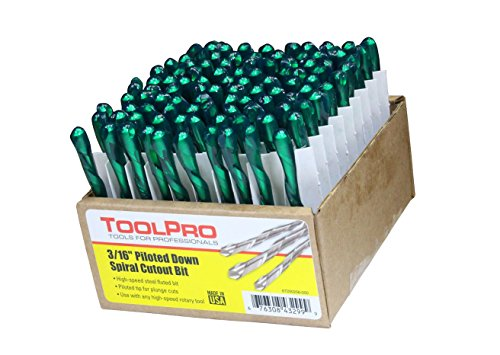 ToolPro 3/16 in. Piloted Down Spiral Cutout Bits (100-Pack)