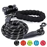 #2: Trary 5 FT Dog Leash with Comfortable Padded Handle - Reflective Leash for Night Safety - Thick Durable Nylon Rope for Small Medium Large Dogs, Black