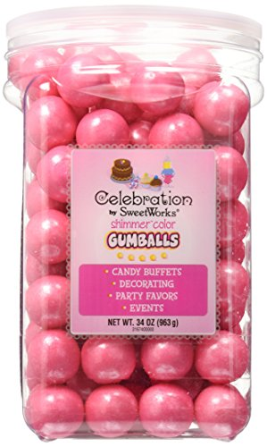 Celebrations By SweetWorks Gumballs 34oz, Shimmer (TM) Bright Pink ()