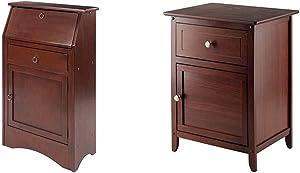 Winsome Wood Regalia Home Office, Walnut & Wood Eugene Accent Table, Walnut