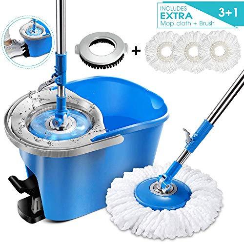 Magic Spin Mop and Bucket Set with 3 Pcs Refill Mop Pads 1Pcs Brush Head Foot Pedal Microfiber Mop