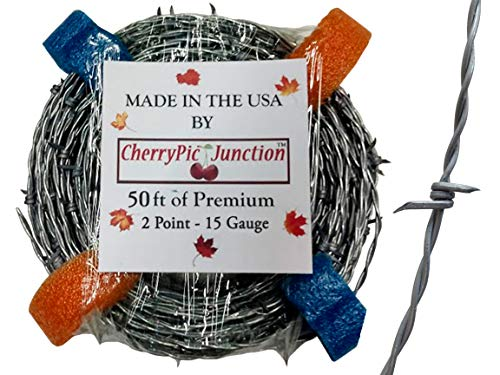 - 50 Feet - Real Barbed Wire - 15 Gauge 2 PT - for Crafts and Yard - Made in USA