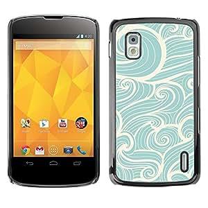 Olas de viento Surf Azul Blanco vintage - Metal de aluminio y de plástico duro Caja del teléfono - Negro - LG Nexus 4 E960