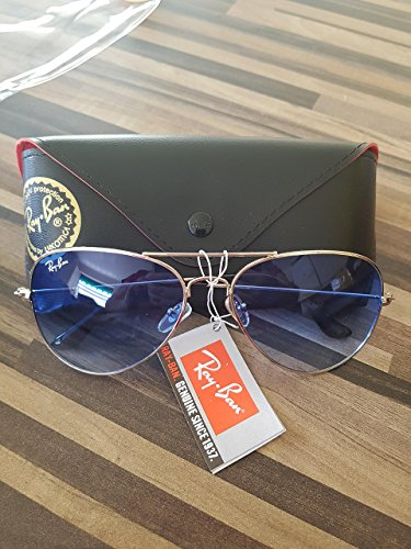 Ray Ban Aviator 3025 Silver Frame w/ Blue Gradient Rb 3025 003/3f 62mm - Ban Aviator Ray Silver Sunglasses