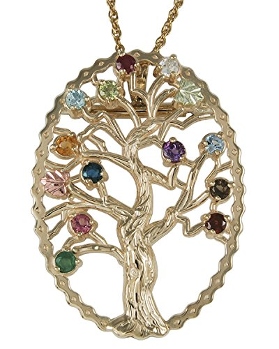 Multi Gemstone Tree Pendant Necklace, 10k Yellow Gold, 12k Green and Rose Gold Black Hills Gold Motif, 18