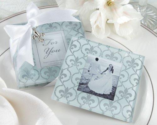 Frosted Glass Photo Coasters - Fleur-de-Lis Frosted-Glass Photo Coasters Set of 2 [SET OF 24]