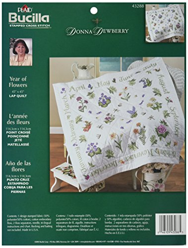 Bucilla Stamped Cross Stitch Lap Quilt Kit, 40 by 40-Inch, 43288 Year of Flowers (Embroidery Lap Quilt)