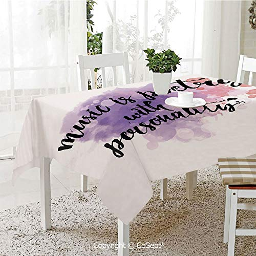 Water Resistant Tablecloth,Inspirational Quote about Music Hand Written Calligraphy Color Splashes,Washable Tablecloth Dinner Picnic Table Cloth Home Decoration(60.23