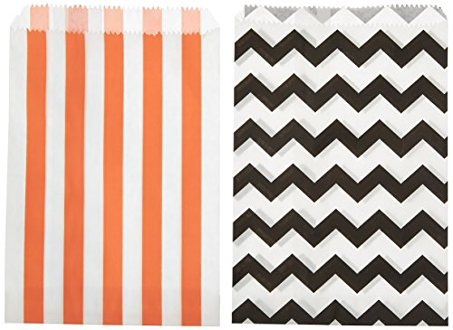 Outside the Box Papers Stripe and Chevron Halloween Treat Sacks 5.5 x 7.5 48 Pack Black, White, Orange (Paper Halloween Stripe)