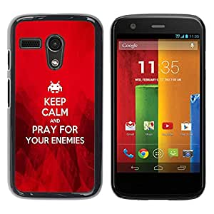 PC/Aluminum Funda Carcasa protectora para Motorola Moto G 1 1ST Gen I X1032 BIBLE Keep Calm And Pray For Your Enemies / JUSTGO PHONE PROTECTOR
