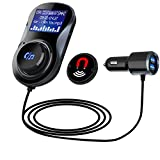 Bluetooth FM Transmitter for Car, Jelaty Wireless in-Car Transmitter Adapter Car Kit Car Dual USB Charger Ports, 1.4 Inch Display TF Card Slot, Support Hands-Free Calling
