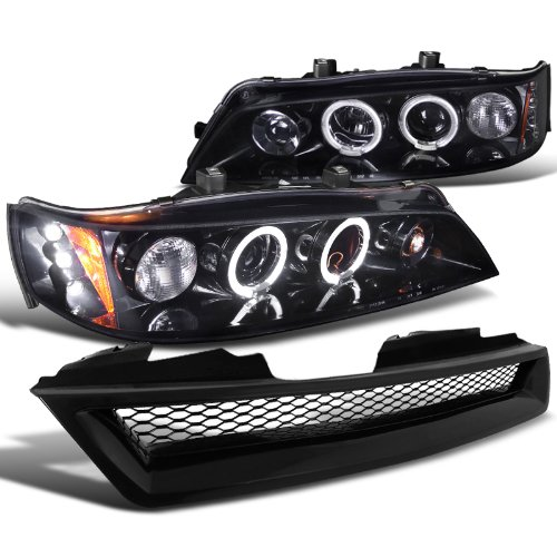 Honda Accord 2/4Dr Glossy Black Projector Headlights+Mesh Hood (95 Honda Accord Grille)