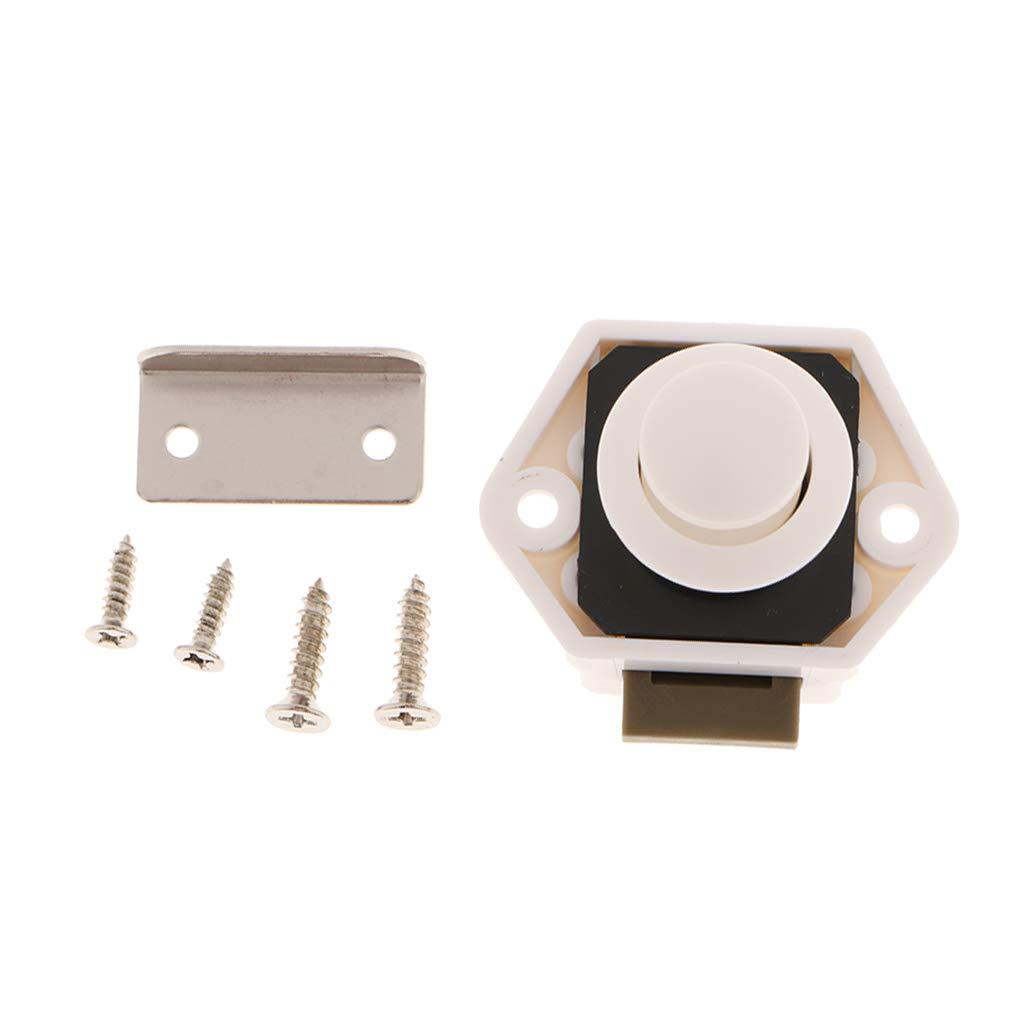 Homyl Mini Cerradura de Perilla con Cierre para Coche RV Gabinete Barco Blanco 55x45mm