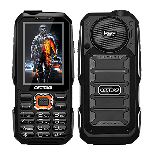 Cectdigi T19 Rugged 2G GSM Mobile Phone,Shockproof Military-Designed phone with Power Bank Charging Function,15800mAh Battery,2.8inch Display,Three SIM Cards,Flashlight (Black, No TF - Phone Gsm 2g