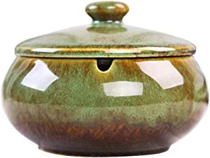 HOOKDOR Home Ceramic Ashtray with Lids,Windproof,Cigarette Ashtray for Indoor or Outdoor Use, Classical ash Tray, Desktop Smoking Ash Tray for Home Office Decoration (Green)