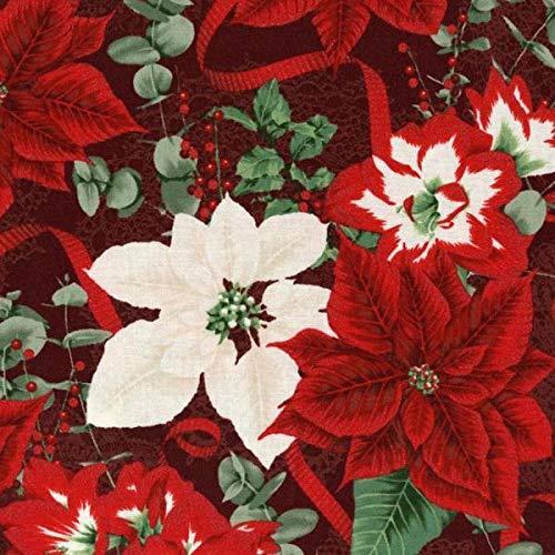 Clearance Sale~Let it Sparkle~Poinsettias Cotton Fabric by RJR Fabrics ()
