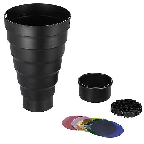 Andoer 98mm Mini Flash Snoot with Grid Color Filter for Godox Neweer 180W 250W 300W Mini Studio Strobe Monolight