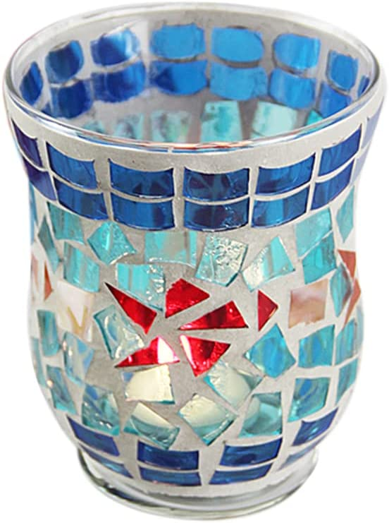 SOOFYLIA Blue Small Fish Mosaic Glass Tea Light Candle Holder Romantic Handmade Gifts Votive Candleholder Christmas Candlestick Holders Table Centerpieces Home Decor Wedding Party Table Decorations