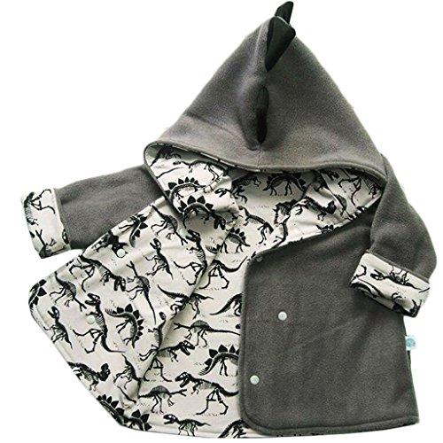 Baby Boys Long Sleeve Cartoon Dinosaur Fleece Hooded Jacket Warm Outerwear Coat size 12-18 Months (Gray)