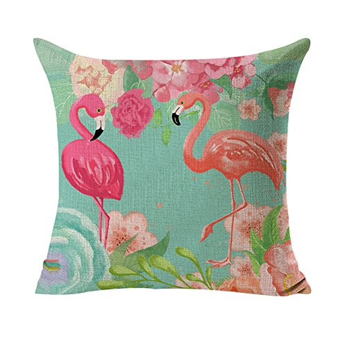 StMelody Cotton Linen Flamingo Patterns Pillow Case Cushion Cover Fall Autumn Cushion Cover (H02)