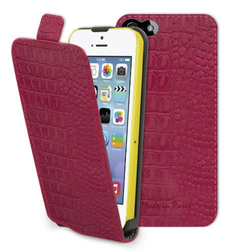 muvit Slim Made in Paris Case für Apple iPhone 5C croco/fuchsia
