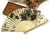 Beige Japanese Chinese Handmade Pocket Fan Plum Blossom Flower Print Folding Hand Fans Matrimonio