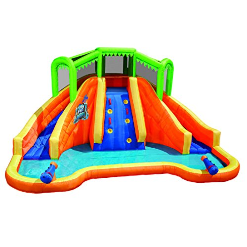 Lagoon Inflatable - Banzai Twin Falls Lagoon Dual Lane Inflatable Motorized Constant Air Water Slide Spring & Summer Pool Splash Backyard Toys