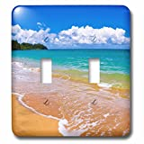 3dRose Danita Delimont - Beaches - Empty beach and blue waters on Hanalei Bay, Island of Kauai, Hawaii - Light Switch Covers - double toggle switch (lsp_259231_2)