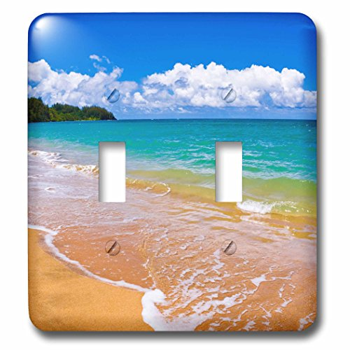 3dRose Danita Delimont - Beaches - Empty beach and blue waters on Hanalei Bay, Island of Kauai, Hawaii - Light Switch Covers - double toggle switch (lsp_259231_2) by 3dRose