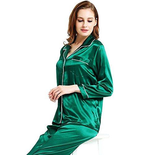 Womens Silk Satin Pajamas Set Green - Green Silk