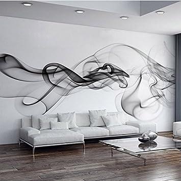 250 CmX 175 Cm Individuelle Fototapete Moderne 3D Wandbild Tapeten Schwarz  Weißer Rauch Nebel Art Design