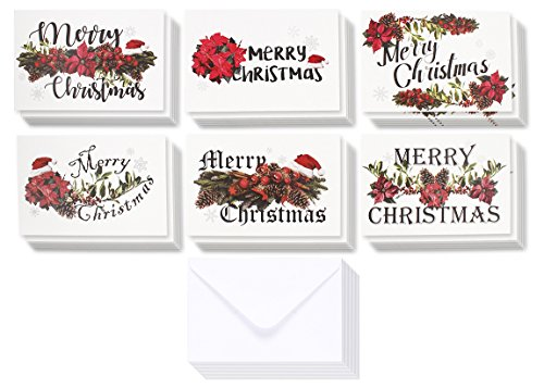 36-Pack Merry Christmas Greeting Cards Bulk Box Set - Winter Holiday Xmas Greeting Cards with Festive Christmas Floral Designs, Envelopes Included, 4 x 6 Inches -