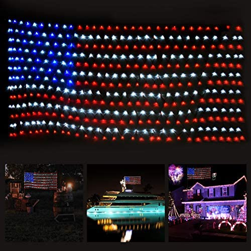 SUPERDANNY American Flag Lights with 420 LEDs, 30V Super Safer Waterproof Outdoor USA Flag Net Lights for Independence Day, July 4th, National Day, Memorial Day, Christmas Holiday, Festival Decoration