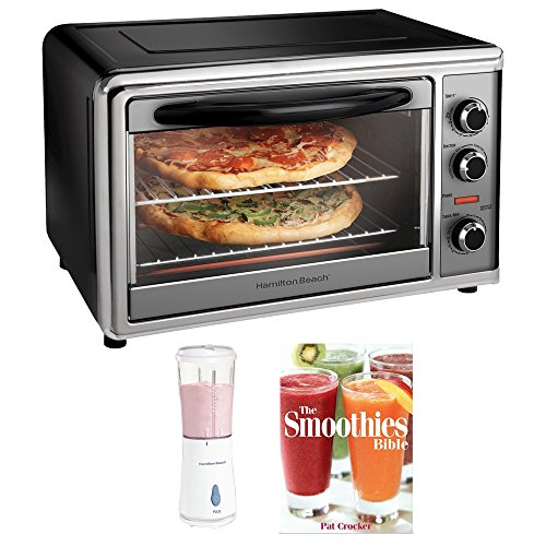 Hamilton Beach Countertop Oven with Convection and Rotisserie - Silver/Black (31104) Plus Bonus Smoothie Bundle - Includes Personal Blender & Pat Crocker The Smoothies Bible