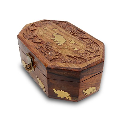(IndiaBigShop Hand Carved Wooden Trinket Box Keepsake Jewelry Organizer Box with Single Elephant Brass Inlay & Velvet Interior 6 X 4)