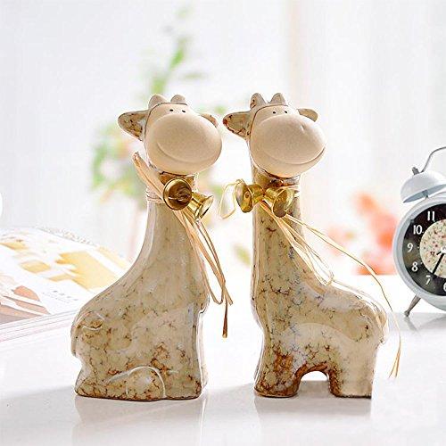 Ceramic Bell Ornament - Ceramic Giraffe Figurine Statue Bell Deer Home Garden Chrismas Decor Ornament Collectible-2 Sets
