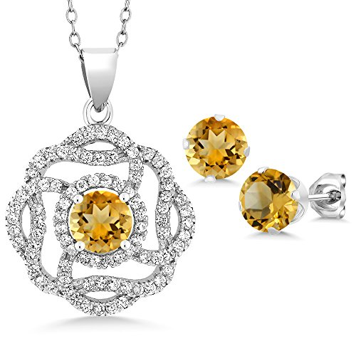 Citrine Earring Pendant - 4.16 Ct Round Yellow Citrine 925 Sterling Silver Pendant Earrings Set