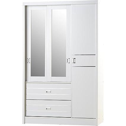 Blanco Puerta Corredera de 3 2 armario con espejo Madera Moderno ...
