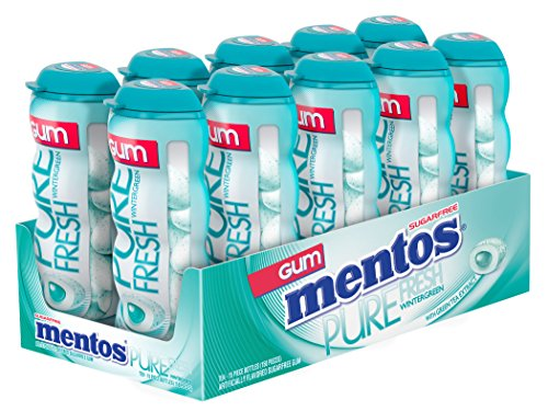 Mentos Gum Sugar Free Pocket Bottle, Pure Fresh Wintergreen, 15 Piece (Pack of 10)