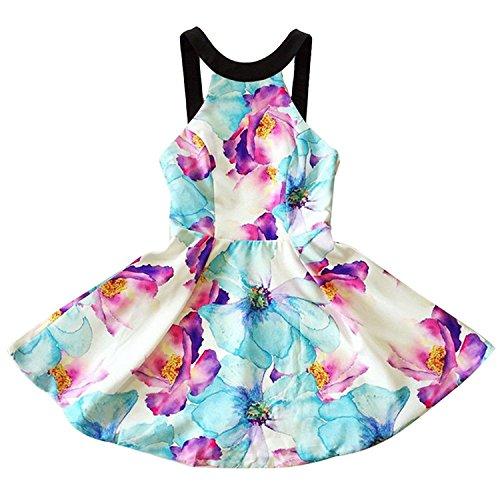 Minetom Mujeres Verano O-Cuello Sin Mangas Corto Vestido Impresión Floral Mini Dress Ropa Corta El Partido Playa Multicolor