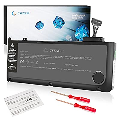 """CSEXCEL New Laptop Replacement Battery for Apple MacBook Pro 13"""" A1322 A1278 (Mid 2009, Mid 2010, Early and Late 2011, Mid 2012 Version) Grade A Cell,10.95V 6000mah/65.5wh from Csexcel Trade"""