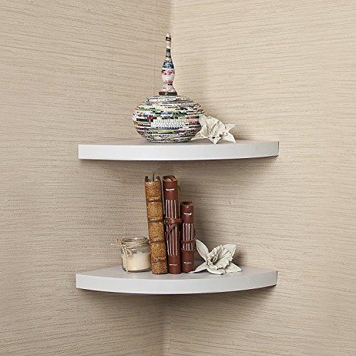 DriftingWood Wooden Floating Corner Wall Shelf | Corner Shelves for Living Room | White