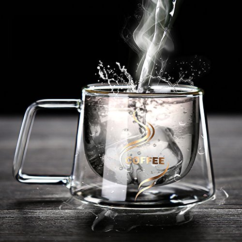 YIFANYU Double Wall Insulated Glass Espresso Mugs Heat Resistant Clear Glass Coffee Tea Cups With Handle by YIFANYU (Image #2)