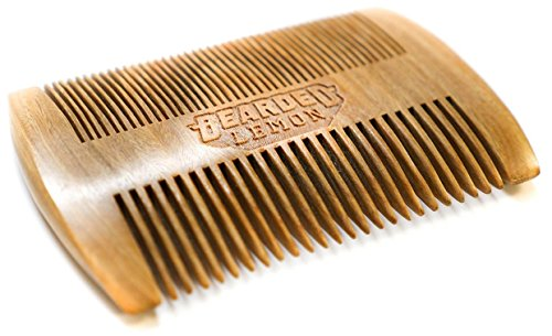 Bearded Lemon Beard Comb | Fine & Coarse Wooden Teeth for All Types of Hair | Natural Anti-Static Sandalwood | Small + Pocket Size | Best Beard Mustache Brush | Made with Wood For Him