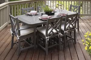 POLYWOOD PWS121-2-GY5472 Chippendale Dining Sets, Slate Grey/Bird's Eye