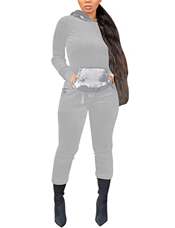 71c6cc42b0b1 Women Giltter 2 Piece Outfits Sequin Patchwork Long Sleeve Hoodie and Pants  Joggers Set Tracksuit Sport